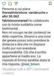 Fabrizio Corona commenta polemica Emma Marrone Lesbica Io Spio