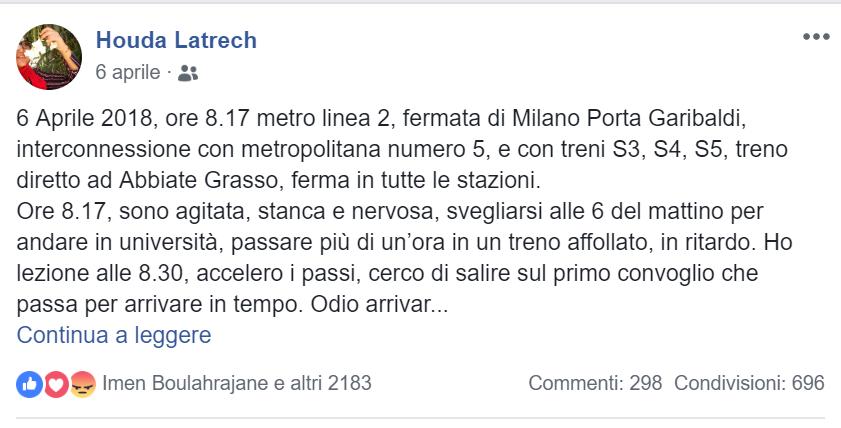 post aggressione Houda Latrech Varese musulmana metro Milano