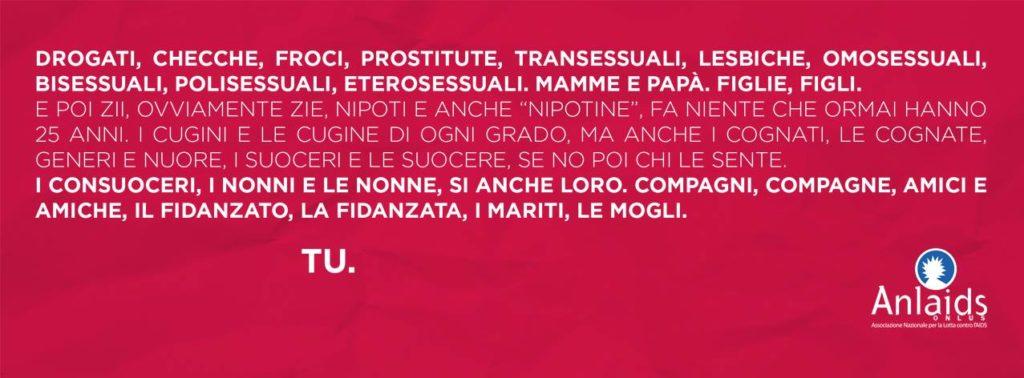 #tiriguarda campagna giornata mondiale contro AIDS ANLAIDS