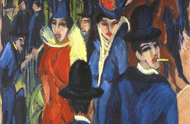 """Berliner Straßenszene (trad. """"Scena di strada Berlinese"""") di Ernst Luswig- Kirchner, 1913, movimento Die Brücke"""