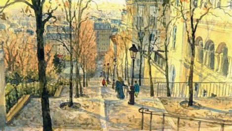 Scale di Montmartre quadro Ho sceso, dandoti il braccio, almeno un milione di scale, Eugenio Montale