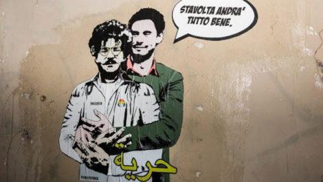 Patrick Zaki stavolta andrà tutto bene murales con Giulio Regeni - Cairo Egitto master a Bologna