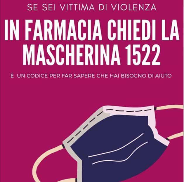 Locandina dell'iniziativa mascherina 1522 contro violenza domestica