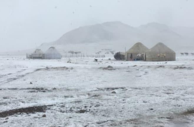 Gruppo di tende yurta durante una tempesta di neve in agosto, lago Son Kul - Kirghizistan