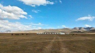 Panorama di un gruppo di tende yurta lungo il lago Son Kul - Kirghizistan