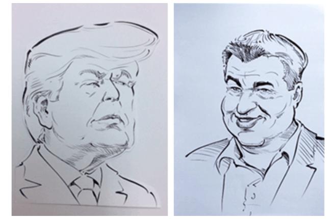Caricature fatte da Antonio di Donald Trump e Markus Söder (Presidente della Baviera)