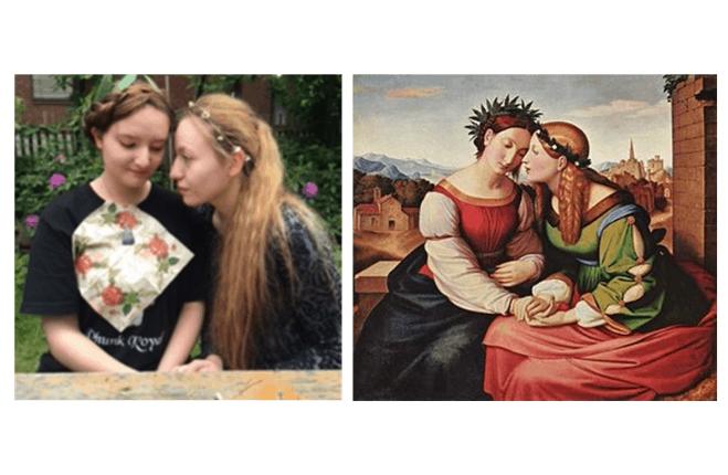 Lidia e Sara Kobler imitano il famoso quadro di Friedrich Oberbeck – Italia e Germania.